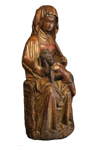 Late 15th C Pietà in carved wood From Lorraine