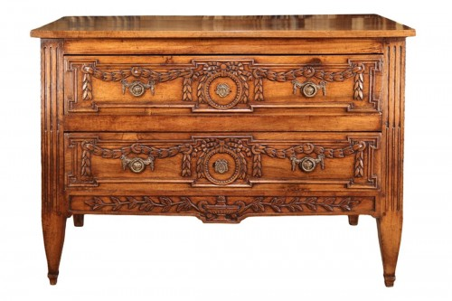 A late 18thC Louis XVI commode (chest of drawers). In blond walnut wood from Provence