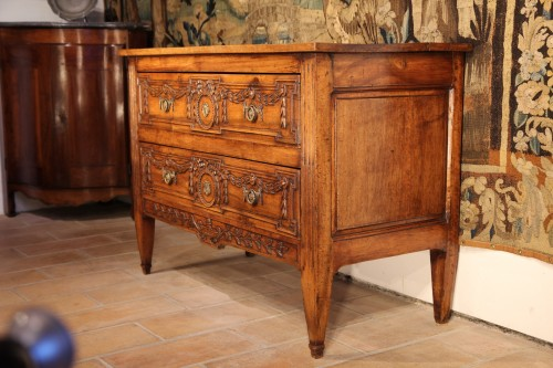 A late 18thC Louis XVI commode (chest of drawers). In blond walnut wood from Provence - Furniture Style Louis XVI
