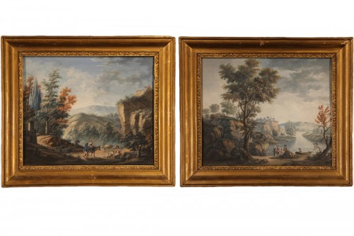 Pair of gouaches, Landscapes with figures - 18th C French school