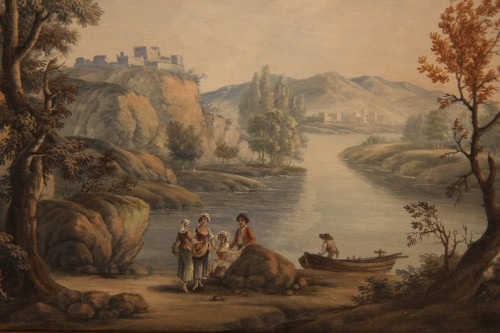 Pair of gouaches, Landscapes with figures - 18th C French school - Paintings & Drawings Style