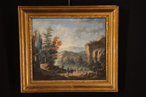 Paintings & Drawings  - Pair of gouaches, Landscapes with figures - 18th C French school