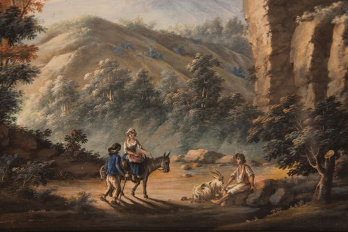 Pair of gouaches, Landscapes with figures - 18th C French school -