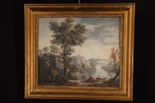 18th century - Pair of gouaches, Landscapes with figures - 18th C French school