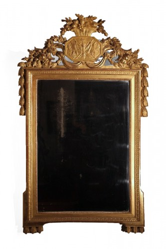 Late 18th C  Louis XVI mirror in carved and gilt wood From Provence