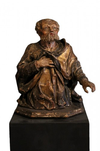 17th C Half-length Sculpture representing St Peter. From Italy.