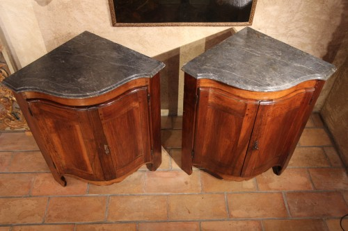 "Furniture  - Pair of low 18th century ""encoignures"""
