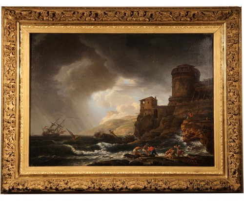 Boats in the storm - 18th C French School
