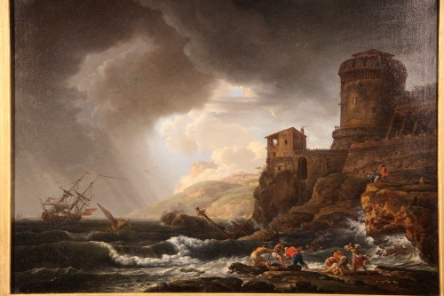 Boats in the storm - 18th C French School - Paintings & Drawings Style