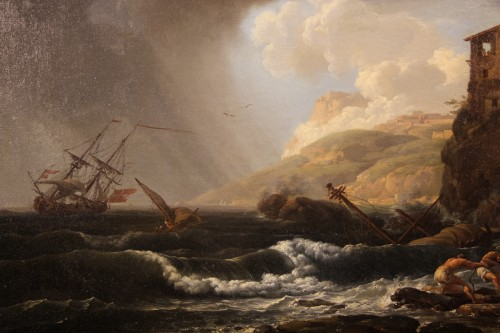 Boats in the storm - 18th C French School -