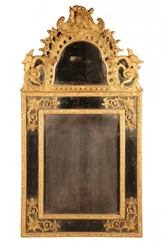 French 18thC carved giltwood mirror
