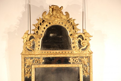 French 18thC carved giltwood mirror - Mirrors, Trumeau Style French Regence