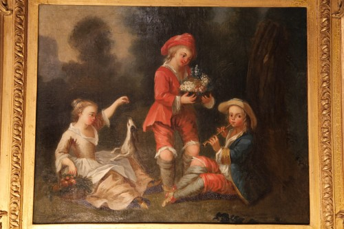 Young musicians in a park - French School of the 18th century - Paintings & Drawings Style