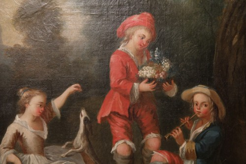 Young musicians in a park - French School of the 18th century -