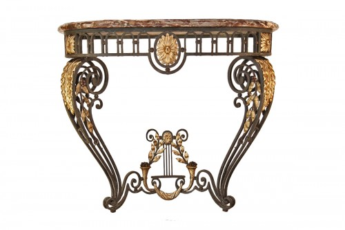 A late 18th century wrougth iron Console