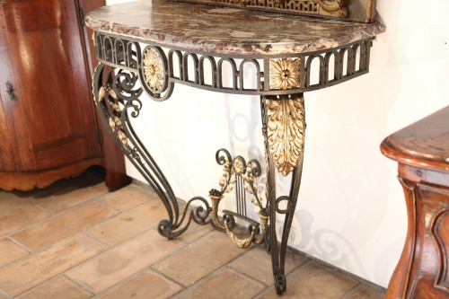 A late 18th century wrougth iron Console - Furniture Style