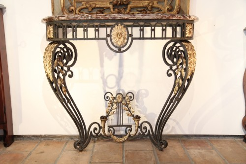 A late 18th century wrougth iron Console -