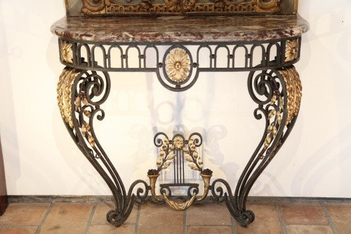 Antiquités - A late 18th century wrougth iron Console