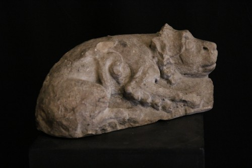 Sculpture  - 12th C Romanesque Sculpture. A lying lion, in limestone