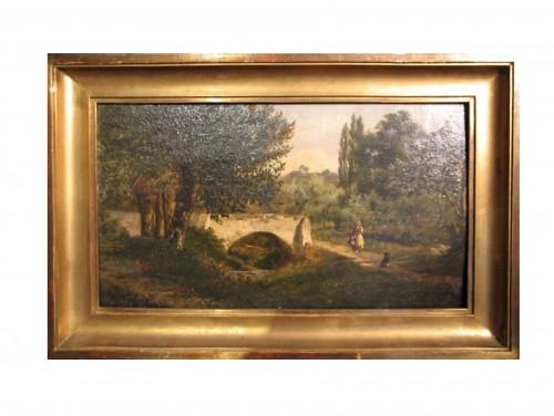 Landscape with figures - Louis Aimé JAPY (1840-1916)