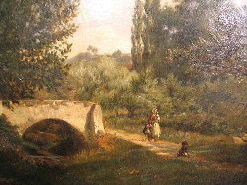 Landscape with figures - Louis Aimé JAPY (1840-1916) - Paintings & Drawings Style