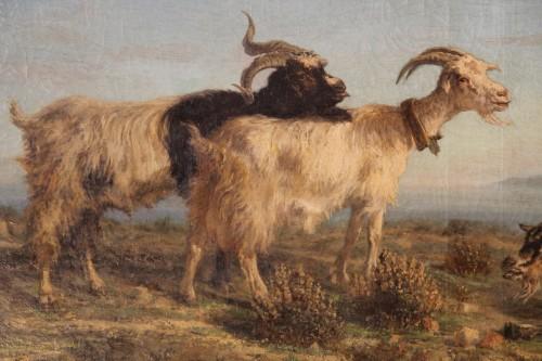 Paintings & Drawings  - Provençal school. SIMON François. The Rove goats.