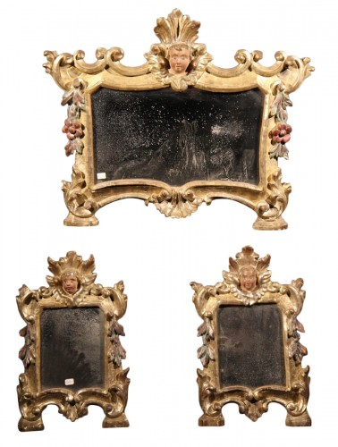 18th C set of 3 small mirrors in carved, gilt and polychrome wood. From Ita