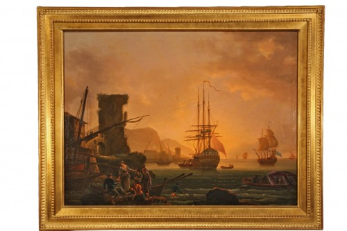 Oil on canvas. 18th C French School. Imaginary port at the sunset.