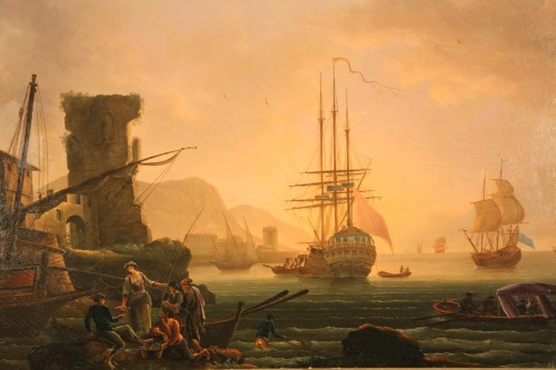 Paintings & Drawings  - Oil on canvas. 18th C French School. Imaginary port at the sunset.