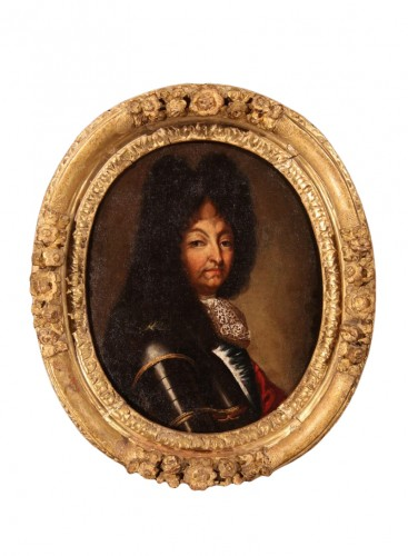 Portrait of Louis XIV in armour - French school of the 17th C