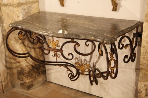 18th C Console in gilt and patinated wrougth iron From Provence - Furniture Style