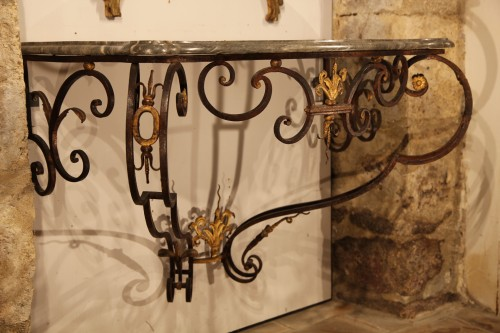 Furniture  - 18th C Console in gilt and patinated wrougth iron From Provence