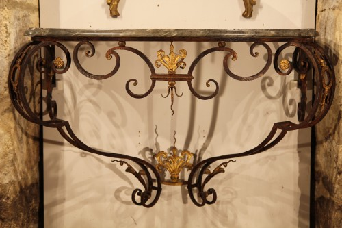 18th C Console in gilt and patinated wrougth iron From Provence -