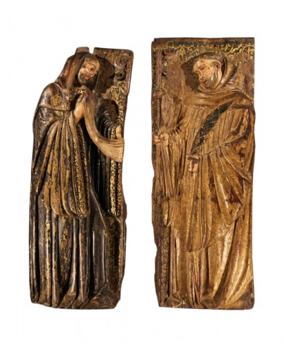 16thC Pair of Saints Abbots,. Spain