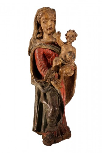 Early 17th C Virgin and Child  with its original polychromy. From Occitania