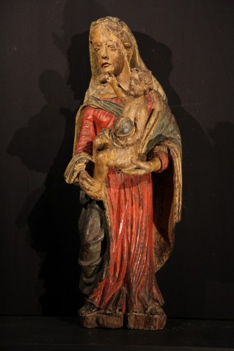 17th century - Early 17th C Virgin and Child  with its original polychromy. From Occitania