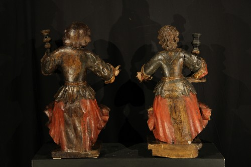 17th C Pair of candle holders in carved and polychrome walnut wood - Religious Antiques Style