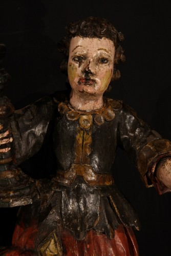 Religious Antiques  - 17th C Pair of candle holders in carved and polychrome walnut wood