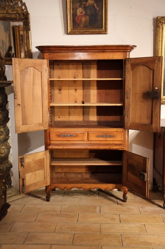 Furniture  - Small cabinet comprising 4 doors and 2 drawers, in blond walnut wood.