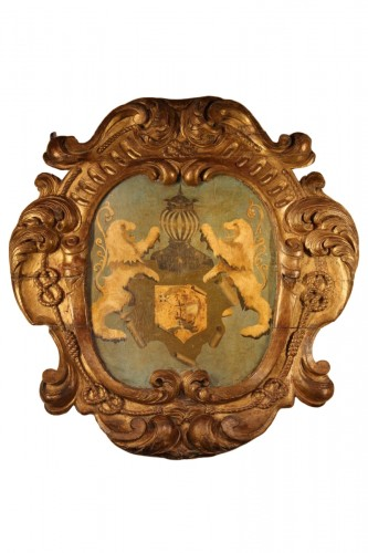 17th C large baroque cartouche. Hispano-Flemish work.