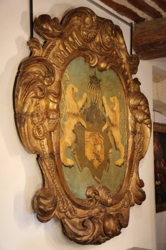 17th C large baroque cartouche. Hispano-Flemish work. -