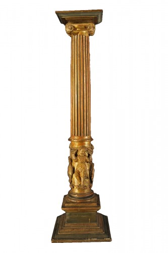 16th C column  in gilt and lacquered wood. From Italy