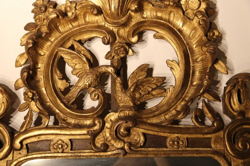 Mirrors, Trumeau  - From Provence. 18th C large mirror in carved, gilt and lacquered wood.