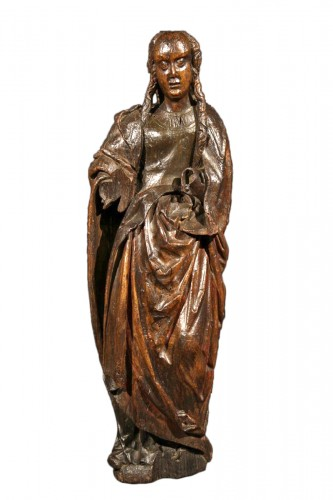 Late 15th C statue of a Holy Woman. Burgundian-Flemish work.