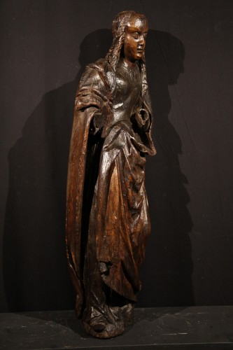 Late 15th C statue of a Holy Woman. Burgundian-Flemish work.  - Sculpture Style Middle age
