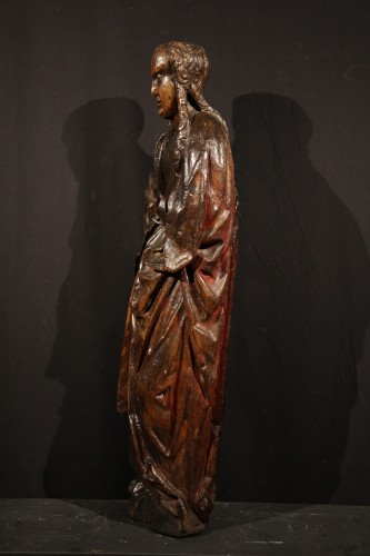 Sculpture  - Late 15th C statue of a Holy Woman. Burgundian-Flemish work.