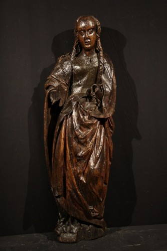 Late 15th C statue of a Holy Woman. Burgundian-Flemish work.  - Middle age