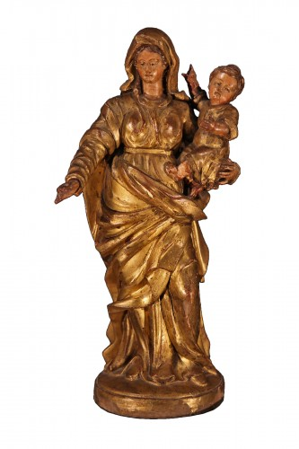 17th C statue from Provence. Virgin and Child in gilt and polychrome wood.