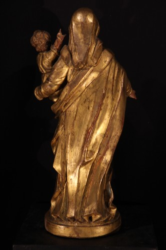 Sculpture  - Virgin and Child in gilt and polychrome wood- 17th C statue from Provence