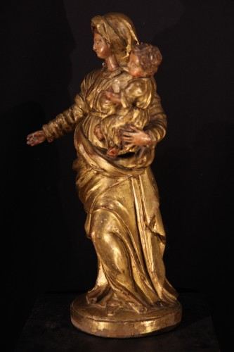 17th century - Virgin and Child in gilt and polychrome wood- 17th C statue from Provence